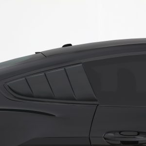 2015-2020 Ford, Mustang, All, Louvered Quarter Window Covers, Smoke, Mounts With 3M Double Side Acrylic Tape