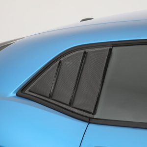 2008-2020 Dodge Challenger, All, 3 Panel Louvered Quarter Window Covers, 2 Pc., Carbon Fiber Look, Mounts With 3M Double Side Acrylic Tape