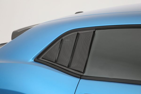 2008-2019 Dodge Challenger, All, 3 Panel Louvered Quarter Window Covers, 2 Pc., Carbon Fiber Look, Mounts By 3M Double Side Tape