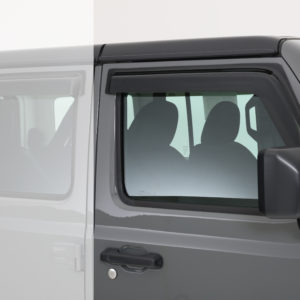 2018-2020 Jeep  Wrangler JL/JLU, All, Ventguard, 2pc, Front Doors,  Smoke, Mounts With 3M Double Side Acrylic Tape